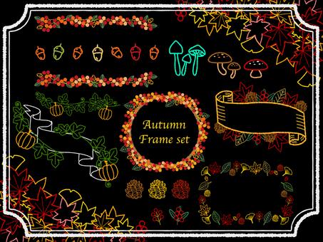 秋の紅葉ワイヤーフレームセット