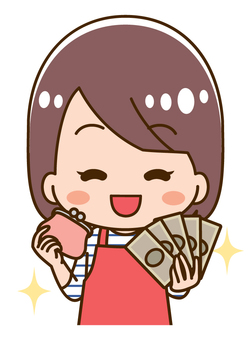 Illustration of a housewife with a wallet and money