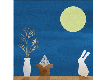 달맞이 토끼 수채화 풍