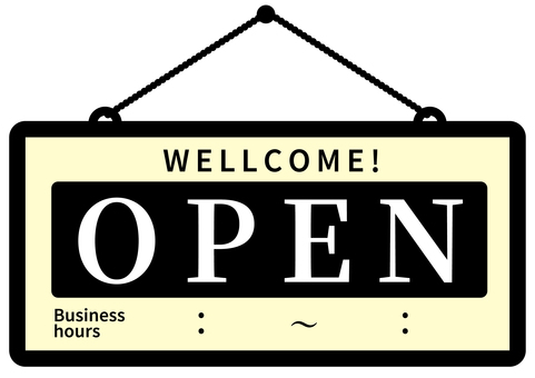 Open OPEN Open Sign Time