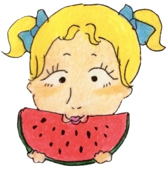 Girl eating watermelon on summer vacation