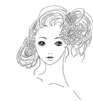 Woman with hair tied Flower decoration Black and white