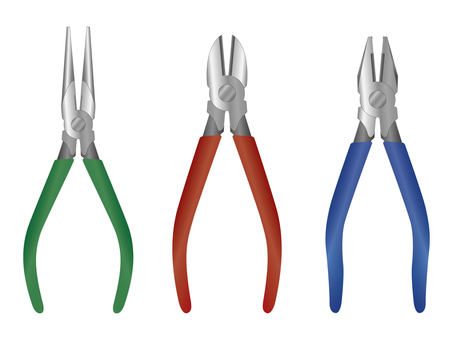 Pliers, nippers, and nose pliers