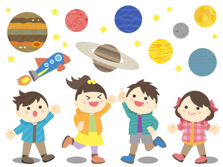 Astronomical observation _ four children _ illustration of the planet
