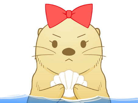 怒っているラッコちゃん(水中)