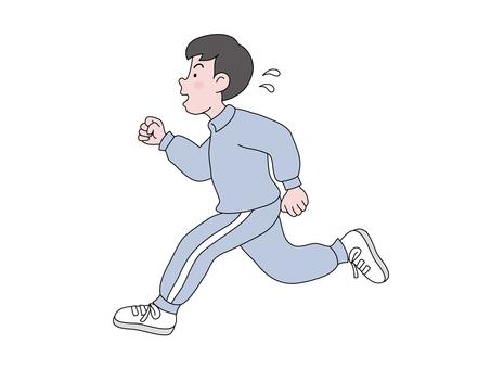 ジョキングする若者