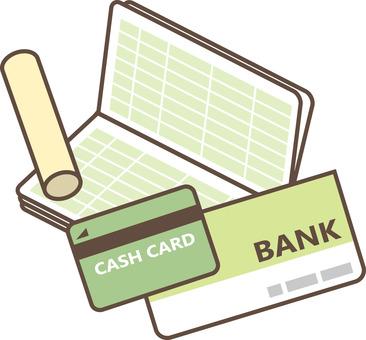 Passbook, seal and cash card
