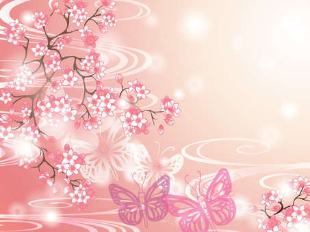 Cherry blossoms and butterfly Japanese Pattern Pink