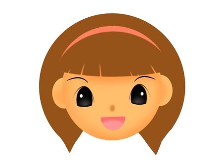웃는 갈색 머리의 여자