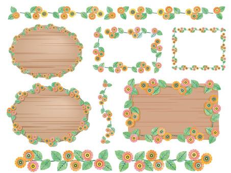 お花のラインとフレーム水彩風