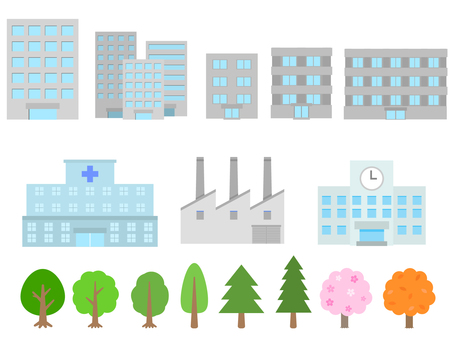 An assortment of building trees