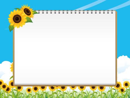 여름의 해바라기 밭과 스케치북 배경 01