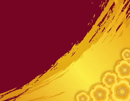 Gold ink background _ Red plum