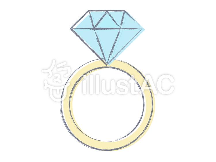 ダイヤモンドの指輪手描き風イラスト No 716854無料イラスト