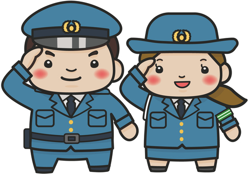 Illustration of a policeman (male and female)