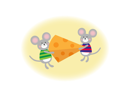 Illustration of cheese and mouse
