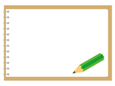 가로 링 노트와 연필 01