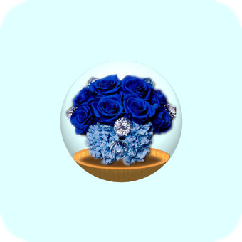 Glass container (blue flower)