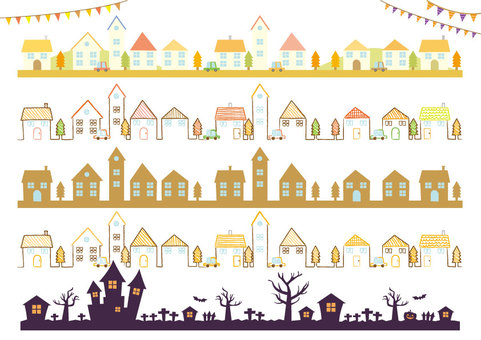 Autumn townscape / illustration / line material