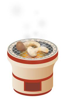 Net-grilled Matsutake mushroom in seven rings