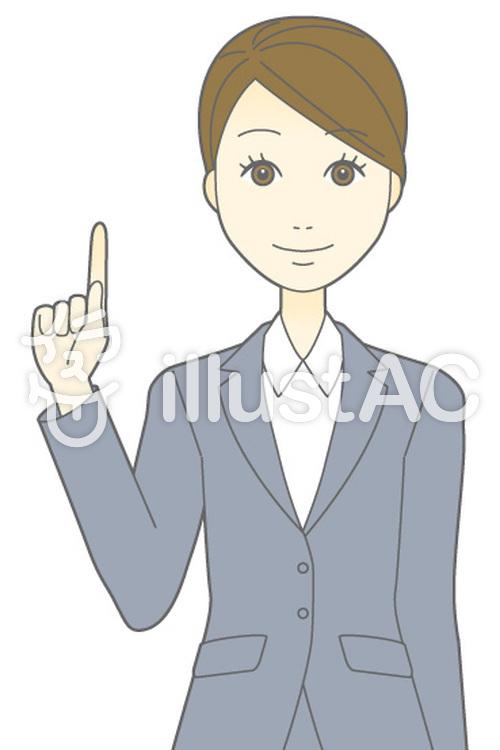 D女性スーツ-指差し-バストのイラスト