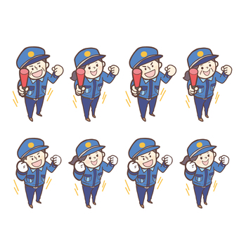 Male and female security guards_guts pose_ induction <set>