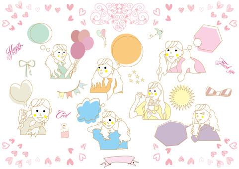 Girls and a set of speech bubbles