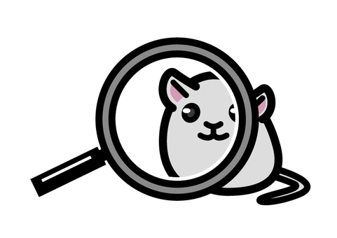 A rat looking through a magnifying glass