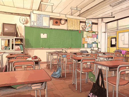 A little old classroom background with a sense of life_Evening