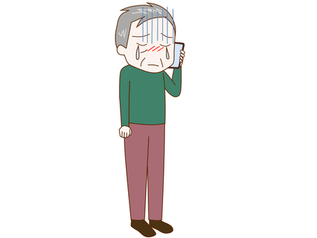 An old man talking while crying on a smartphone