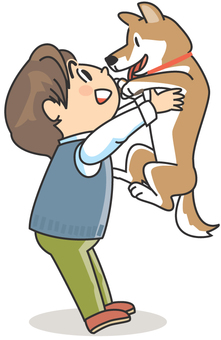 A boy lifting a dog