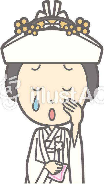 角隠し-泣く-バストのイラスト
