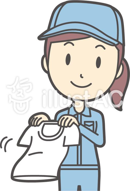 作業員女性ブルー-266-バストのイラスト