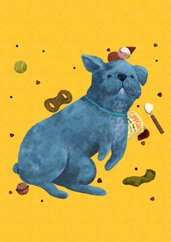 Blue dog and his favorite things