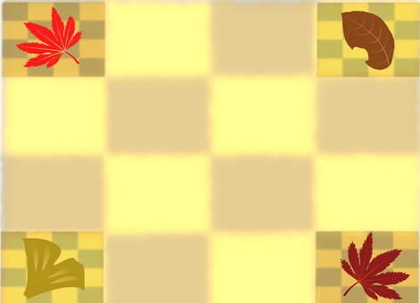 Autumn frame autumn leaves · grid Japanese pattern