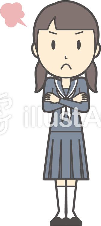 中学生セーラー女性-319-全身のイラスト