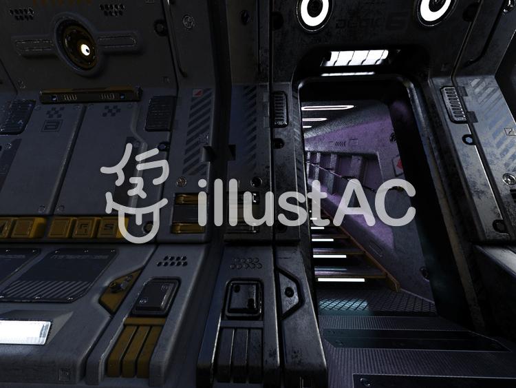 宇宙船内の通路(階段)のイラスト