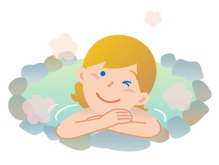60914. Foreigner female, hot spring