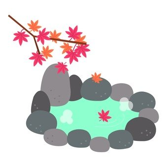 Rock bath and autumn leaves