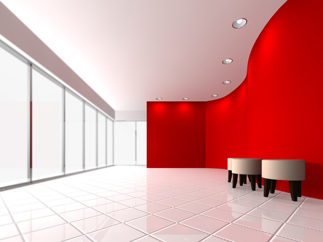 Reception space (red)