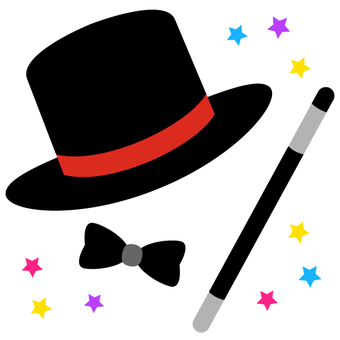 Magician hat and stick and bow tie 2
