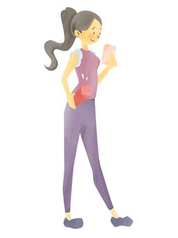 Women, sportswear, smartphone