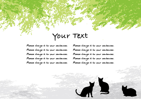 Fresh green tree shade and cat message card C