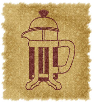 French press (with background, brown)