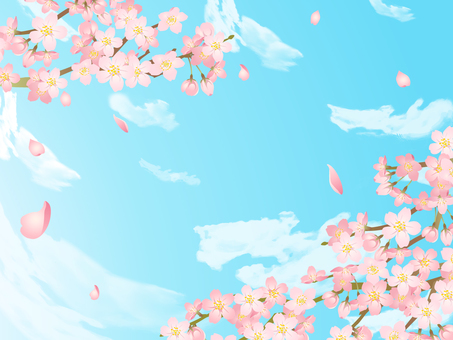 Cherry Blossom Frame 03 / Handwriting Blue Sky Cloud