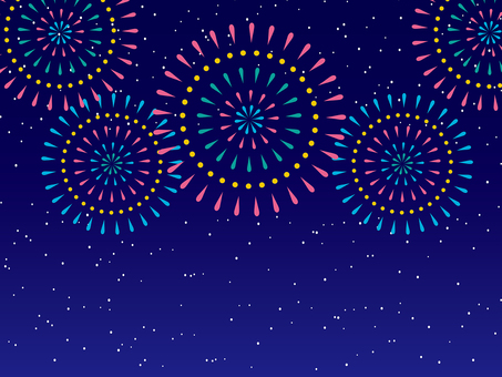 Starry sky and fireworks