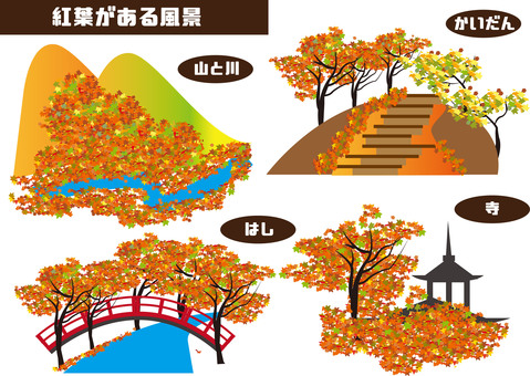 Scenery with autumn leaves