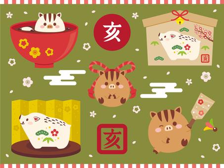 まんまる亥のお正月飾りセット02