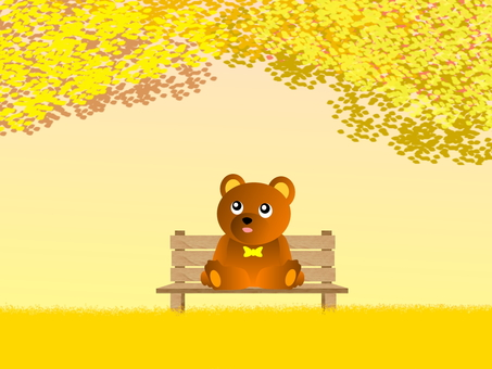 Small bear and bench