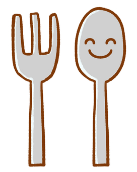 Smiling fork and spoon